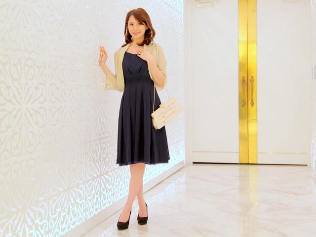 ネイビードレスのコーディネート方法①