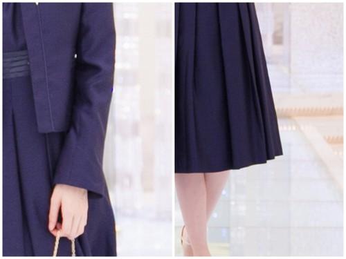 袖丈・着丈が長めにデザインされているフォーマルスーツ。袖丈はスリット仕様で折り返して着用できる。