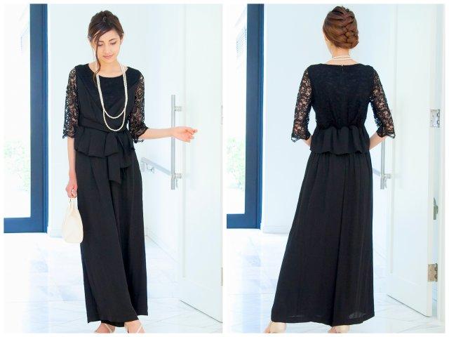 ハイウエストで絞り、脚長効果&スタイルアップが期待できるパンツドレス