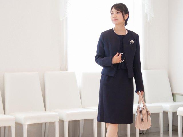 ツイードジャケット×五分袖コンビワンピース(ネイビー)