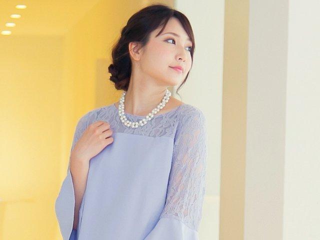 一枚で着られる袖ありタイプのドレス