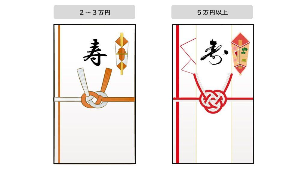 金額が2~3万円の場合はシンプルなもの、5万円以上の場合は華やかなものを選ぶ