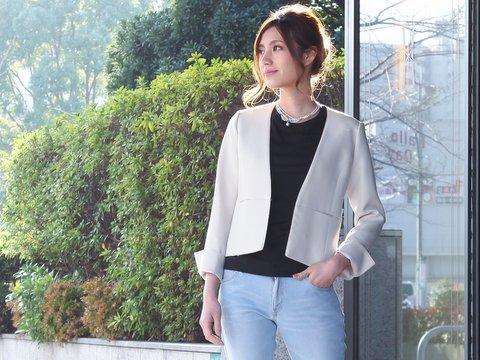 入学式のジャケットを普段使いに着まわすコーデ画像