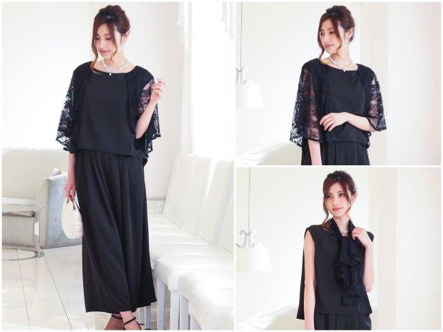 3WAYレースケープワイドパンツドレス(ブラック)